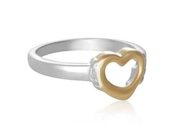 Silver And Gold Open Heart Ring