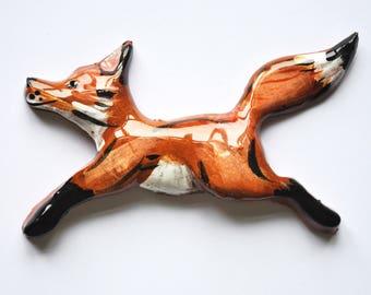 Ceramic Fox Brooch