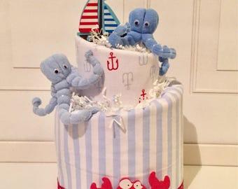 Baby Boy Nautical Diaper Cake