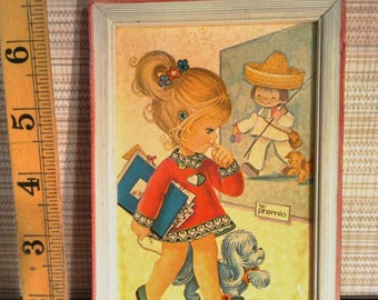 Pair of vintage framed prints by Rosa, Girl Artist with Dog