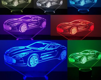 Aston Martin,Personalized 3D Illusion ,7 Colors changing LED Lamps With Remote Controller,Add your name or text