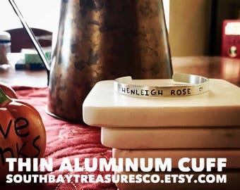 Personalized Thin aluminum cuff