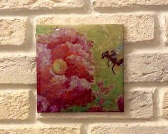 Ceramic tile art, decorative tile, Painting tile,Design tile, Roses in green,Roses,Roses on tile,Printing on tiles Gloss ,Gift for her