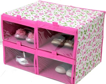 Pink floral shoe organizer set of 4