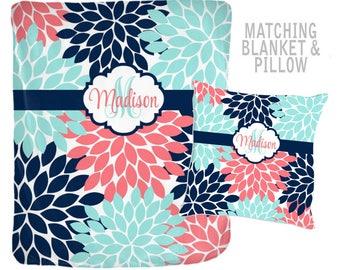 Monogram Baby Blanket Pillow Set, Valentine Gift for Girl, Gift for Friend, Gift for Teen, Baby Girl Bedding, Baby Girl Shower Gift