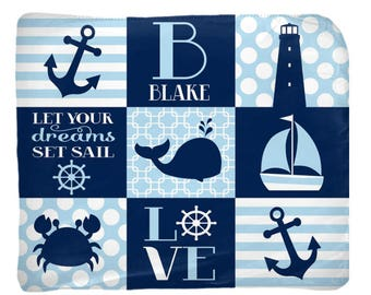NAUTICAL Baby Blanket, Nautical Nursery Bedding, Personalized Blanket, Boy Name Blanket, Boy Shower Gift, Swaddle Blanket Pillow Set