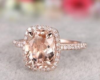 Solid 14k Gold Ring, 7x9mm Morganite Engagement ring rose gold,Diamond wedding band,Gemstone Promise Bridal Ring,Halo,Prongs