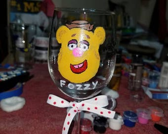 fozzy the bear wine glass by LifeofReillyDesigns