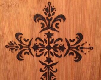 Woodburned Cross cutting board