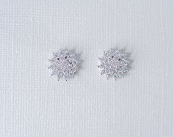 Cluster Cubic Zirconia Stud Earrings, CZ Wedding Earrings, CZ Stud Earrings, Bridal Earrings, Silver Studs, Engagement Earrings, Flower Stud