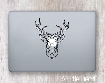 Stag Geometric Head  Macbook Decal, Laptop Decal, Stag Sticker Macbook, Laptop Sticker, Geometric Decal, Stag Minimalist Decal