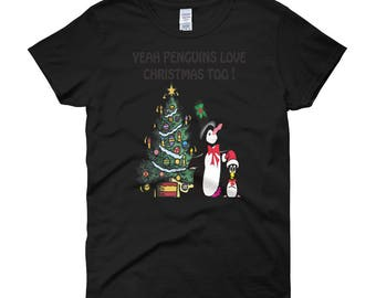 Yeah Penguins Love Christmas Too Women's short sleeve t-shirt by Diddydom