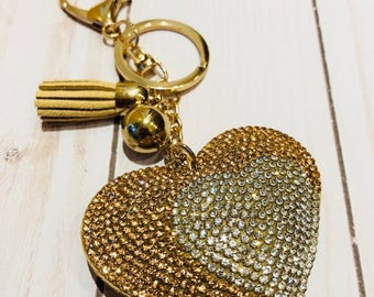 Key chain in beige suede and rhinestones
