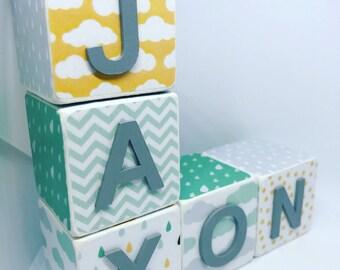 Wooden Name Blocks - Mint & Yellow