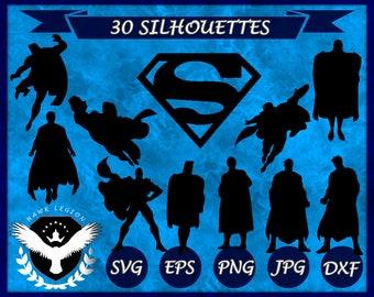 30 Superman Silhouette | Superman SVG | Superman Clipart | Superman Print| Superman Vector | Superhero Silhouette | Vinyl Decal | Circuit