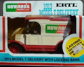 1983 ERTL Model T Die Cast Replica Howardu0027s Brand Discounts Locking Coin  Bank