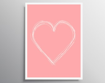White heart poster, Pink heart print, Nursery print, digital download, Heart print, Girl nursery decor, Instant download, baby shower gift