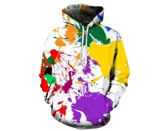 Paint Splat, Paint Hoodie, Painted Sweatshirt, Painting Clothes, Hoodie Art, Hoodie Pattern, Pattern Hoodie, Hoodie, 3d Hoodie - Style 4
