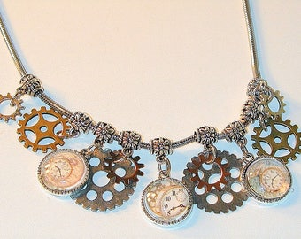Steampunk Inspired Charm Necklace  Handmade OOAK