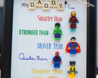 Lego, Iron Man, Superman, Spider-man, Hulk, gift for him, valentine, father's day, anniversary, birthday for daddy, husband inspired by LEGO