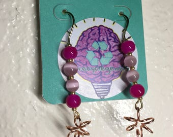 Pink and Rose Gold bead and flower earrings