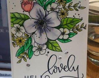 Handmade Watercolored Greeting Card - Hello Lovely Sentiment