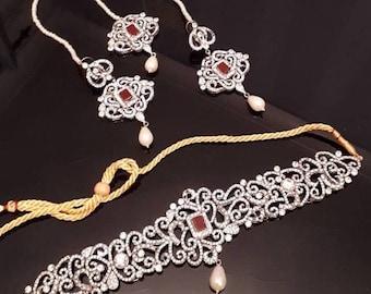 Indian bridal pakistani silver maroon black choker jewelry wedding party