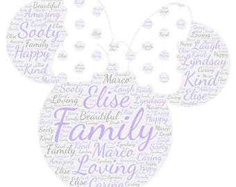Personalised minnie mouse Word Art Gift Framed Wedding Anniversary Engagement Birthday Son Daughter Auntie Sister Gift