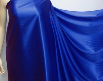 Pure Mulberry Silk Pure Silk Charmeuse Fabric material Royal Blue (by yard and meters ) Fashion Fabric CH48