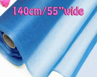 140cm Wide Diva Blue 100% Real Mulberry Silk Organza Fabric Natural Silk Material (QI Za 20025W X Yards / Meters) Light Weight