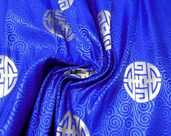 Huge Discount Chinese Heavy brocade satin fabric material longevity and good luck on Royal blue  embroidered by the Yard Meters cbs 821