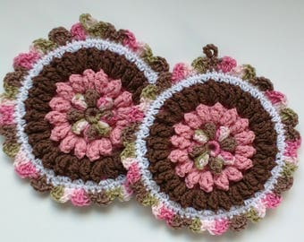 Brown and Pink Floral Hot Pad Set