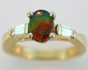 Ammolite and Baguette Diamond Ring