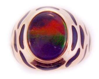 Tiger Design Ammolite 14k Rose Gold Ring