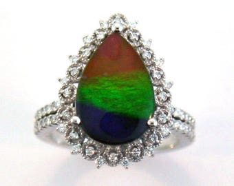 Canadian Ammolite with Diamond set on 14k White Gold