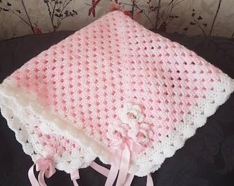 Pink & White Crochet Baby Pram Blanket