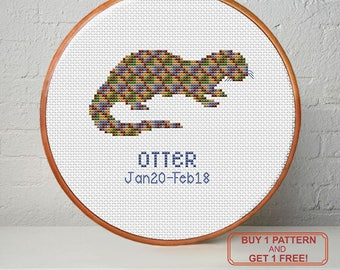 Birthday totem, Otter, Modern cross stitch pattern PDF - Instant download. Buy 1 pattern - get 1 free