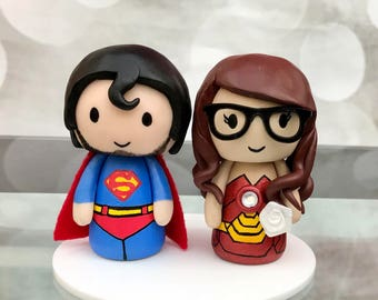 Superman and Iron woman wedding cake topper