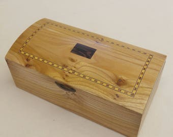 Bow Top  Jewellery Casket handmade in Solid Elm