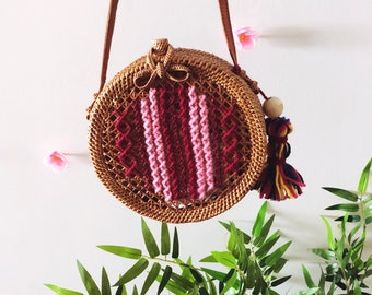 Embroidered Round Rattan Bag