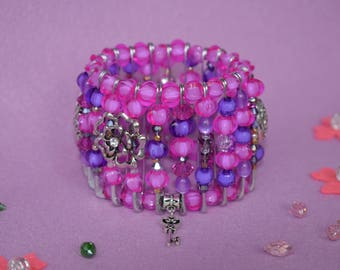 Women's pink bracelet Elastic bracelet Beaded bracelet Stretch bracelet Talisman Winter gift wife Christmas jewelry Christmas daughter gift