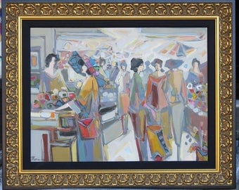 22000 Rare Original Large Deluxe Hommage To Tarkay Oil Women Shopping Isaac Maimon