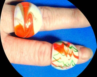 Set of 3- Vintage 1970s Murano Style Glass Statement Rings/ 3 Chunky Handmade and Blown Glass Mod Dome Rings with Orange Color Scheme