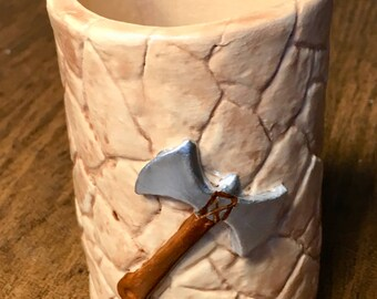 Dice Cup with Flagstone Pattern, Battleaxe, Sword - Stoneware Ceramic, for Warhammer, Dungeons and Dragons, Magic, Hand Made, One of a Kind