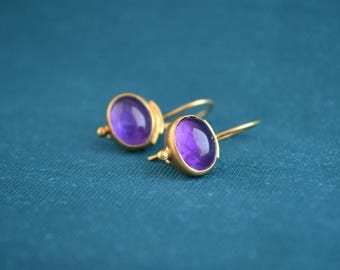 18K Gold and Amethyst Earrings, Gold and Amethyst Drop Earrings, Women's Gold Drops, Artisan Jewelry, Gift for Her
