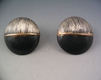 sterling silver oxidized domed post earrings with 14 k gold