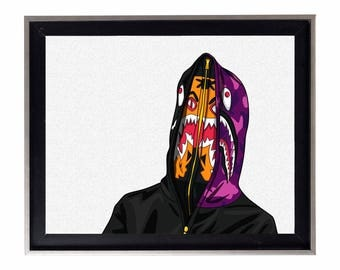 Bape Shark Hoodie Cartoon Poster or Art Print (a bathing ape)