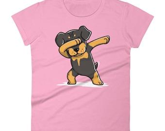 Funny Dabbing Rottweiler Shirt, Cute Dab Dance Dog Gift, Rottie Women's T-Shirt