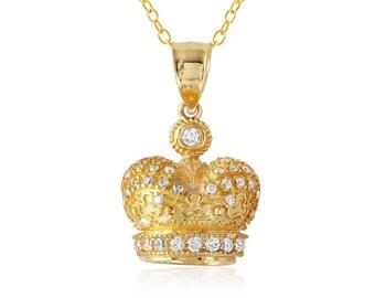 Gold Princess Crown Pendant