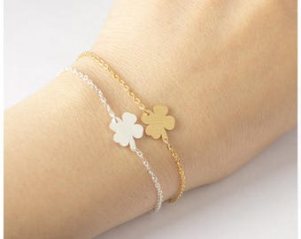 Stainless Steel Lucky Four Leaf Clover Bracelet St. Patrick's Day